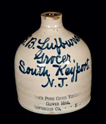 Rare South Keyport, NJ, Stoneware Script Advertising Jug