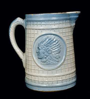 Blue and White Salt Glaze Stoneware Pitcher with Indian Head