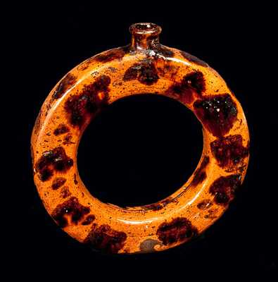 Pennsylvania Redware Ring Flask with Manganese Splotches