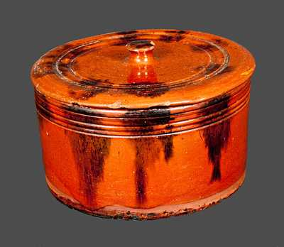 Connecticut Redware Butter Crock with Lid