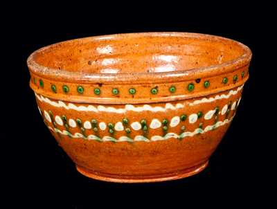 Unusual Redware Bowl with Ornate Green and Yellow Slip Decoration