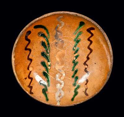 Small Berks County, PA Redware Plate with Multi-colored Slip Decoration