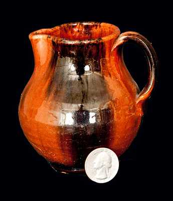 New England Redware Cream Pitcher with Manganese Decoration