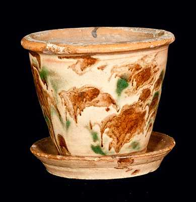 Small Green and Brown Decorated Pennsylvania Redware Flowerpot