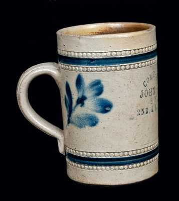 Rare Remmey, Philadelphia, Decorated Stoneware Advertising Mug