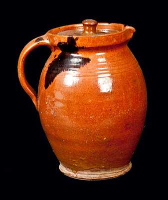 New England Redware Pitcher with Lid