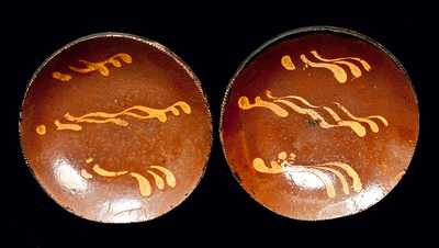 Pair of Slip-Decorated Redware Plates