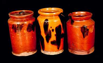 Lot of Three: New England Redware Jars with Manganese Decoration