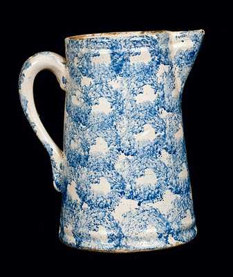 Blue and White Spongeware Pitcher with Chainlink Decoration