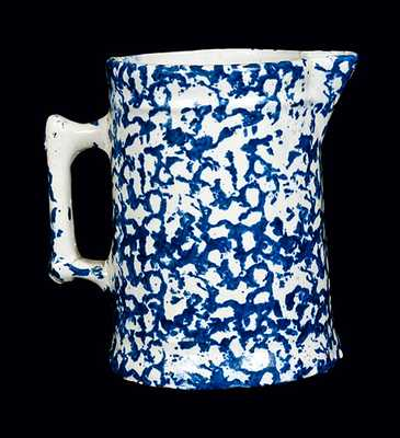 Blue and White Spongeware Tankard Pitcher