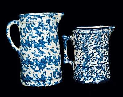 Lot of Two: Blue and White Spongeware Pitchers