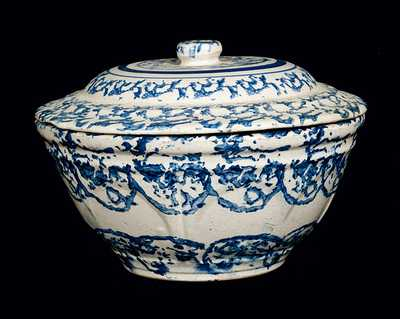 Blue and White Spongeware Bowl with Lid