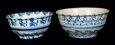 Lot of Two: Blue and White Spongeware Bowls