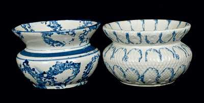 Lot of Two: Blue and White Spongeware Cuspidors