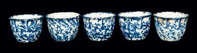 Lot of Five: Blue and White Spongeware Custard Cups