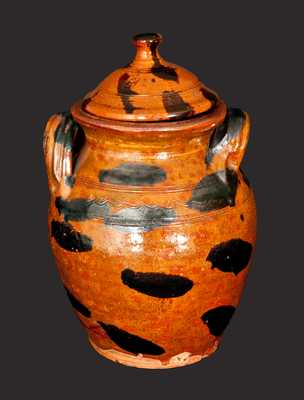 Exceptional Cain Pottery, Sullivan County, Tennessee, Lidded Redware Jar
