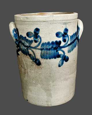 Pail-Shaped Philadelphia Stoneware Crock with Floral Decoration, circa 1840