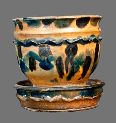 Extremely Rare Double-Crimped Redware Flowerpot with Profuse Cobalt and Manganese Decoration