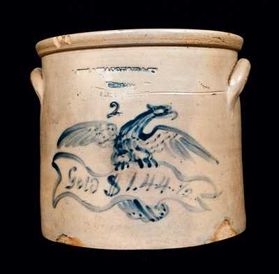 Important MACQUOID / NEW YORK Stoneware Crock with Federal Eagle and Historic Inscription