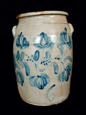 6 Gal. Western PA Stoneware Crock with Elaborate Floral Decoration