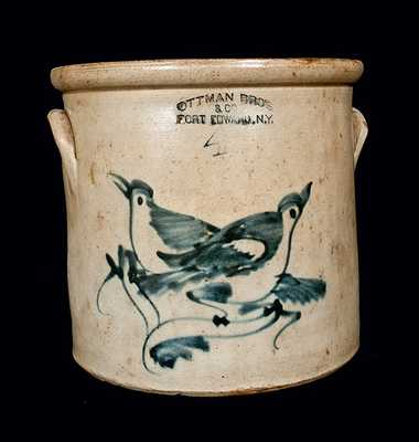 OTTMAN BROS. / FORT EDWARD, NY Stoneware Crock with Double Birds