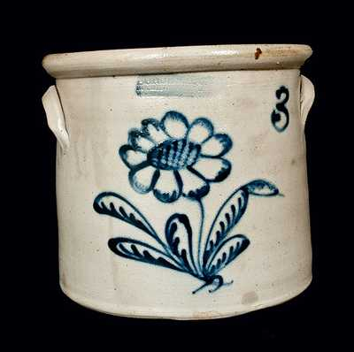 BURGER & CO. / ROCHESTER, NY Stoneware Crock with Floral Decoration