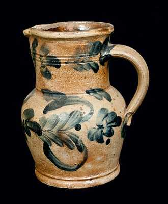 1 Gal. Richard Remmey, Philadelphia Stoneware Pitcher with Elaborate Floral Decoration