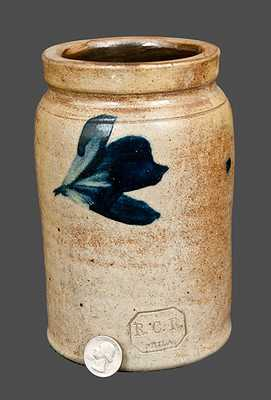 Signed R.C.R., Richard Remmey, Philadelphia, PA, Quart-Sized Stoneware Crock