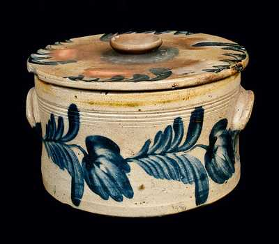 Richard Remmey, Philadelphia, PA, Stoneware Butter Crock with a Lid