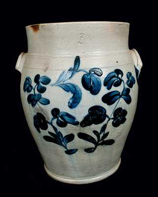 3 Gal. Philadelphia, PA Stoneware Crock with Floral Decoration