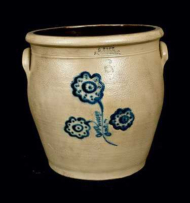 C. HART / SHERBURNE Stoneware Crock with Slip-Trailed Decoration