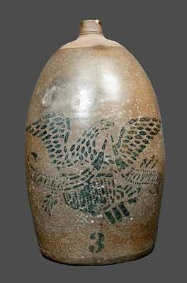 EAGLE POTTERY Stoneware Jug with Stenciled Federal Eagle Decoration, Greensboro, PA origin, c1875