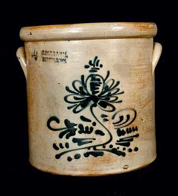 C. W. BRAUN / BUFFALO, NY Stoneware Crock with Slip-Trailed Floral Decoration