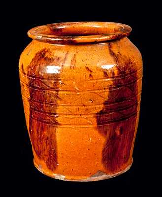 Lead and Manganese Glazed Redware Jar, probably York County, PA