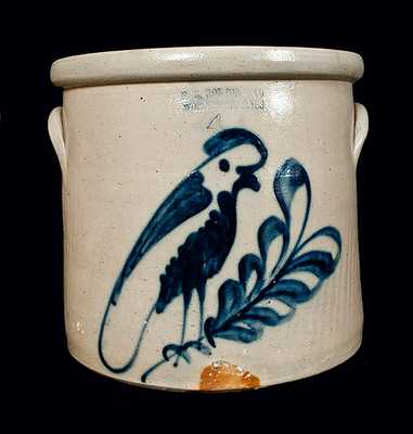 F. B. NORTON / WORCESTER, MA Stoneware Crock with Parrot Decoration
