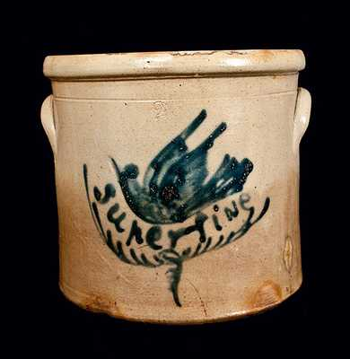 Hartford, CT, Stoneware Crock with Bird and