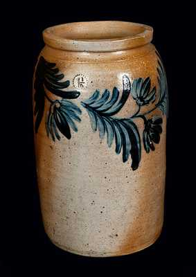 1 1/2 Gal. Baltimore Stoneware Crock with Elaborate Floral Decoration, circa 1845