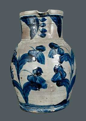 Two Gal. Stoneware Pitcher with Elaborate Floral Decoration, Maryland, circa 1850