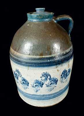 Large Midwestern Stoneware Milk Jug with Elaborate Sponged Decoration