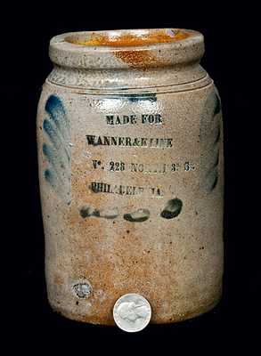 Quart Sized Stoneware Crock with Philadelphia Advertising