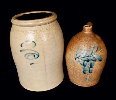 Lot of Two: Pfaltzgraff Pottery Stoneware Jug and 3 Gal. Stoneware Crock