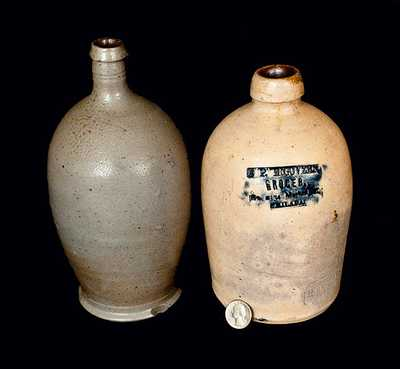 Lot of Two: Quart Stoneware Jugs incl. Rare Signed Remmey Philadelphia Advertising Jug