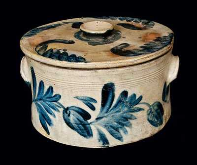 Richard Remmey, Philadelphia, Stoneware Cake Crock with Lid and Elaborate Cobalt Decoration