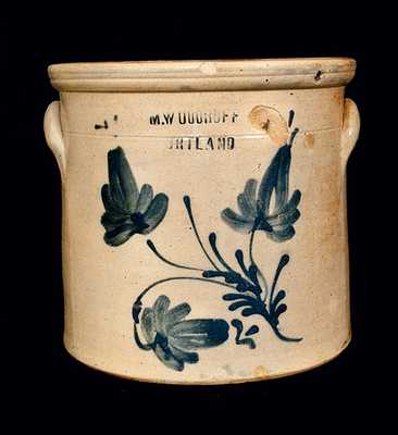 M. WOODRUFF / CORTLAND Stoneware Crock with Floral Decoration