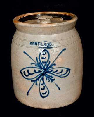 CORTLAND Stoneware Crock with Slip-Trailed Floral Decoration