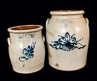 Lot of Two: NORTON / BENNINGTON, VT Stoneware Crocks with Floral Designs