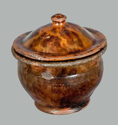 Glazed Pennsylvania Redware Sugar Bowl with Lid