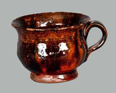 Fine Diminutive Redware Teacup with Manganese Drips