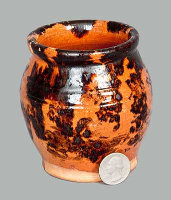 Small Redware Jar with Sponged Manganese Decoration