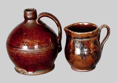 Lot of Two: Small Redware Jug and Redware Cream Pitcher